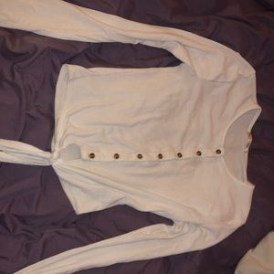 forever 21 long sleeve button/tie top